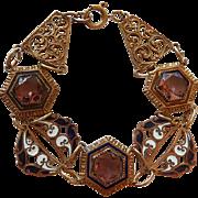 Vintage Czech Enamel & Amethyst Glass Bracelet