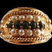 Vintage 14K YG Jade & Cultured Pearl Ring