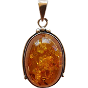 Sterling Silver & Baltic Honey Amber Pendant