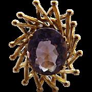 14K YG Modernist Amethyst Ring 3 Carats
