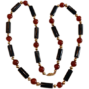 14K Carnelian & Onyx Necklace 26""