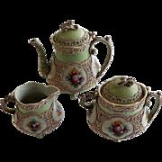3 Piece Nippon Moriage Tea Set 19th Century