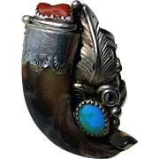 Man's Sterling Bear Claw Native American Ring Signed