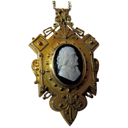 Victorian Etruscan Revival Hardstone Cameo Locket Pendant GF On Chain.