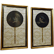 Pair Framed Fans/Face Screens With Cats  -  Adolphe Thomasse,  French C. 1905