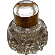 Victorian Crystal & Brass Large Inkwell
