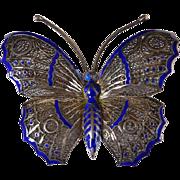 Vintage Sterling & Enamel Filigree Butterfly Brooch/Pin Portugal