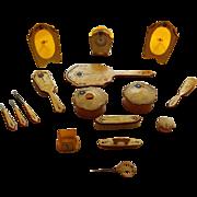 16 Piece Jeweled Celluloid Dresser Set Art Deco