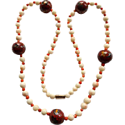 """Vintage Coral & Cloisonne Necklace 28"""""""