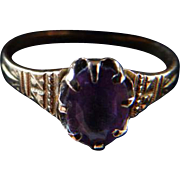 Victorian 10K Yellow Gold Ring With Amethyst