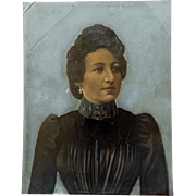 Rare Full Plate Tintype Of Victorian Woman Hand Colored