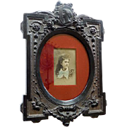 Antique Gutta Percha Picture Frame With Tintype