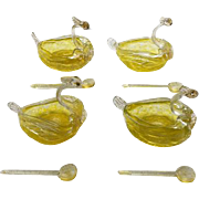 Set of 4 Murano/Venetian Glass Swan Salts With Spoons