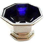 English Sterling Octagonal Salt With Cobalt Liner