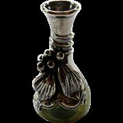 Art Nouveau Sterling & Art Glass Vase