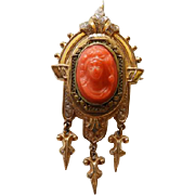 Victorian Carved Coral Cameo Pendant/Brooch In Gold Fill