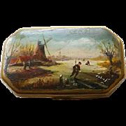 Antique Dutch Tobacco/Snuff Box Hand Painted Scene