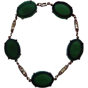 Art Deco Sterling Chrysoprase Bracelet
