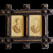 Tramp Art/Folk Art Double Picture Frame