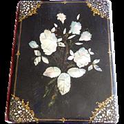 Antique English Papier Mache Desk Portfolio MOP Inlay