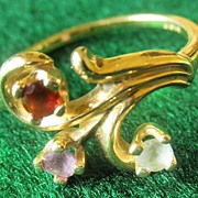 Sweet Vintage 14K YG Ring With Ruby Amethyst And Aquamarine