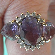 Amethyst and Diamond 14K YG Ring