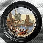 """Framed 19th Century English Prattware Pot Lid  """"Strasburg"""""""