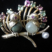 Glorious 10K YG Bird Brooch/Pin With Gemstones Circa 1910