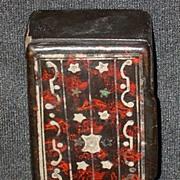 Antique Papier Mache Snuff Box  Pewter Inlay