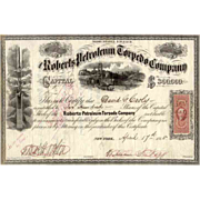 SALE 1865 Roberts Petroleum Torpedo Co Stock Certificate