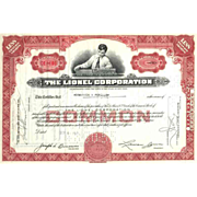SALE Early 1950s Lionel Corp Stock Certificate -- first version, boy with train