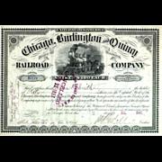 SOLD 1890s Chicago Burlington & Quincy RR Stock Certificate
