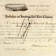SALE 1854 Rensselaer & Saratoga RR Stock Certificate