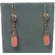 SALE Earrings; Coral  & 9 CT. Gold, English, C. 1900