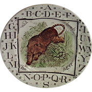 SALE Transfer Ware Child's Plate From The Wild Animal Series, Circa 1882