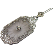 Vintage Quartz , Diamond  & Platinum Pendant With 9 CT. Chain