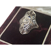 Art Deco Ring, 18K Filigree , Diamond  & Synthetic Sapphires