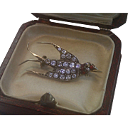 Antique French  Pin/ Pendant , Silver & Paste Swallow