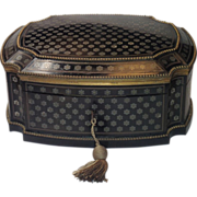 SOLD On Hold For JS ......TAHAN PARIS  Sewing Box , Ebonized Wood With Inlay, Circa 1870