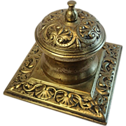 SALE Brass Inkwell With Shell Motif , English, Circa 1870