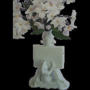 Figural Bud Vase, White Porcelain Artists' Motif , C. 1900