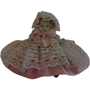 """Miniature Bisque Doll, ......  4"""" Tall In Pink Ribbon & Lace , Circa 1900"""