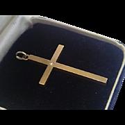 Antique Cross Pendant, 14K  With Diamond