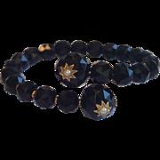 SALE Victorian Coil Wrap Bracelet ; Onyx , 14K & Natural Pearls