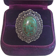 SALE Art Deco Ring; Sterling Silver , Turquoise & Marcasite