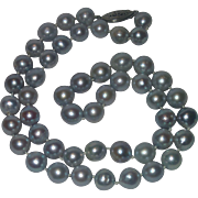 Vintage Silver Blue Cultured Pearl Strand, 9 mm &  Sterling Clasp