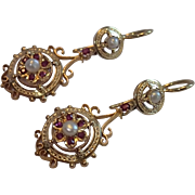 Antique Earrings ;  Rubies & Natural Pearls Set In 18K , French C. 1870-1880