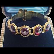 Victorian Buckle Bracelet ;  14K Set With Carbuncle  Garnets & Rose-Cut Diamonds ...... Exquis