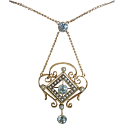 Antique Necklace , Aquamarine , Natural Pearls & 15CT ... Exceptional Quality