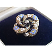 SALE Victorian Love - Knot Pin / Pendant  , 14K & Enamel With 15 Point Old - Cut Diamond